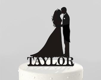 Exclusive Custom Silhouette Wedding cake topper by TrueloveAffair