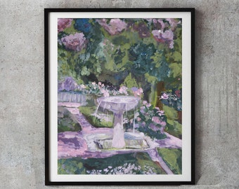 Pink Floral Painting, Impressionist painting, garden roses, pink roses, pastel floral, living room, fountain,Sorolla inspired, wall art