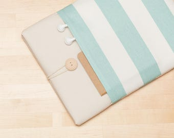 Macbook pro 13 case / Laptop case  / Macbook air 13 sleeve / Custom Laptop sleeve / padded with pockets  - Teal stripes in cream -
