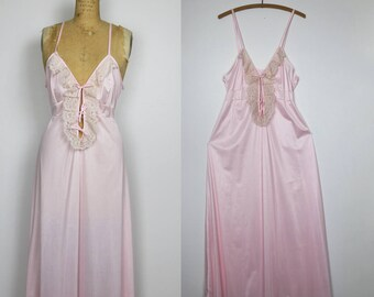 60s - 70s pink nylon nightgown, boudoir, romantic dress for the modern gal