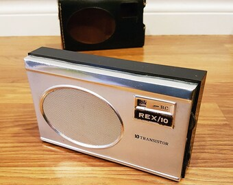RARE Rex Radio, Rex/10 Portable Radio with Case, Made in Japan, Working