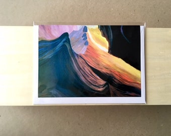 Abstract canyon, original acrylic painting print, A6 Gift Card, includes blank card with envelope