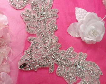 "XR157 Elegant Silver Beaded Crystal Rhinestone Applique Motif 13"" ( XR157-slcr )"