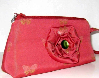 Rose Color Butterfly Wristlet/Clutch Adorned With Handmade Flower
