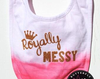 Royally Messy Baby Dip Dyed Bib, Pink Baby Girl's Bib, Pink Dip Dyed Baby Bib, Novelty Baby Bib, Baby Shower Gift, Baby Gift, Baby Bib