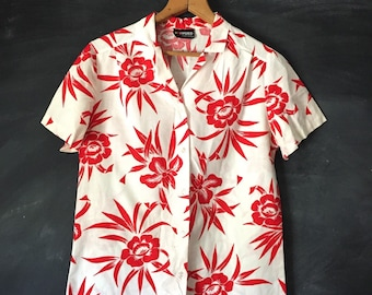 Vintage 80'd rrrruss Red & White Tropical / Hawaiian Button Down Top
