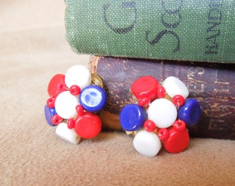 Vintage 60's Earrings, Red White and Blue Beaded Clip on Earrings,  Mid Century, Rockabilly