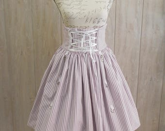 Steampunk Violet and White strippes Skirt, Gothic Lolita, Casual Lolita, Otome, Steampunk, Circus