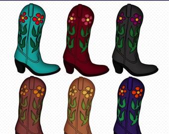 Cowboy Boots Clip Art, Cowboy Boots Graphics, PNG Files, Instant Download, Downloadable Graphics, Western Boots Clipart, Cute Clipart