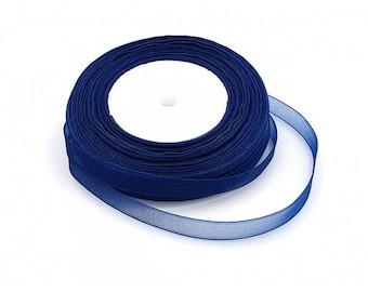 45 m 10mm dark blue organza Ribbon