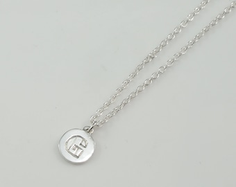 Customizable Personalized Hand- Engraved Name Monogram Initial Circle Disc Token Pendant Necklace - Name Letter Alphabet sterling silver