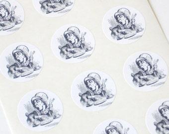 Mad Hatter Stickers One Inch Round Seals