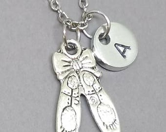 Ballet Shoes Necklace, Ballet Necklace, Ballerina Necklace, Ballerina Gift, Gift for Dancers, Personalized Necklace, Initial Charm Necklace
