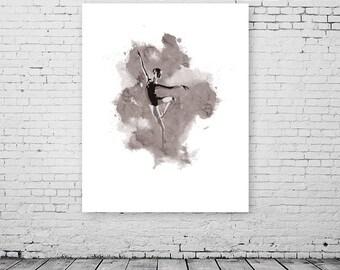 Ballerina artwork, ballet dancer painting, dancer art print, ballet illustration, ballet art gift, ballerina figure, dancing art painting