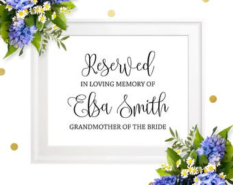 Printable Memorial Sign-Personalized Wedding Memorial Sign-Reserved In Loving Memory sign-Wedding 'In Honor Of' Sign-Wedding In Memory Sign