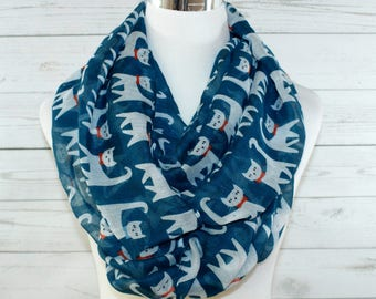 Cat Print Scarf, Blue Cat Scarf, Infinity Scarf, Animal Print Scarf, Year Round Scarf, Gift for Her