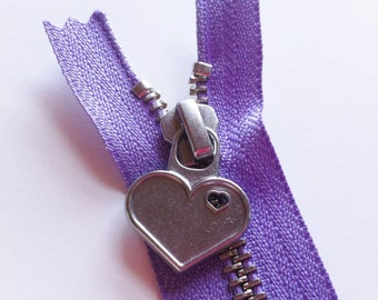 Metal Teeth 12 Inch Zippers with Special Heart Pull - YKK- 1 Piece- Lavender 553