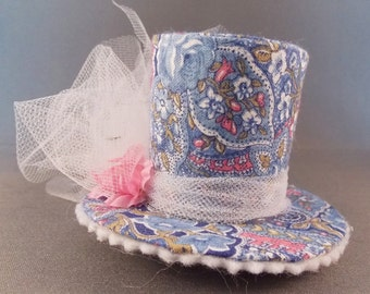 Mini Lolita Steampunk Top Hat in Light Blue and Pink Paisley Barrette