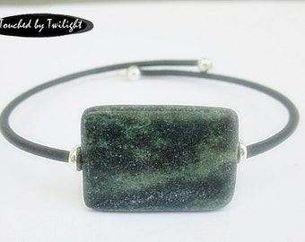 Memory Wire Cuff - Yellow Green Turquoise - Rubber Cord Bracelet