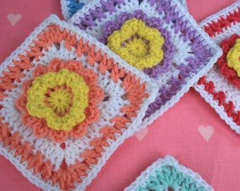 Crochet Square Pattern - Pretty Flower Square - PDF Instant Download