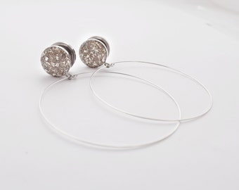 Silver Crushed Glass Hoop Dangle Plugs / 16g, 10g, 8g, 6g, 4g, 2g, 0g, 00g, 7/16, 1/2, 9/16, 5/8, 11/16, 3/4, 7/8, 1 in /  Hoop Earrings