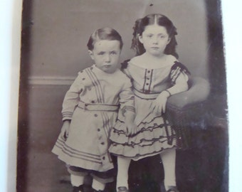Antique Photo Antique Victorian Tintype Adorable Brother and  Sweet Sister