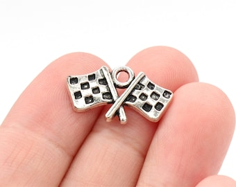 6 Pcs Checkered Flag Charms Nascar Charms Car Racing Charm Pendants Antique Silver Tone 27x12mm-YD0688