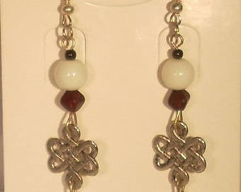 Pyramid red and white glass beads and fancy Chinese knot earrings