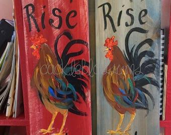 "5.5"" X 21"" #211 Rooster Sign Folk Art"