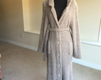 Long Tan Boucle Nubby Sweater Coat Belted 1970