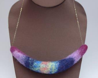 Felted Pendant: Rainbow