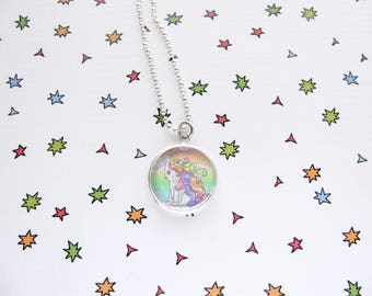 Rainbow Caticorn Necklace, Cute Cat, Pretty Pendant, Kitty Accessories, Unicorn Jewelry, Funny, Rainbow Lover Gift, Silver Plated
