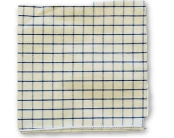 Frederick Thomas white and blue square design cotton pocket square FT4102