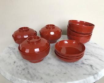 Vintage Japanese Lacquerware Bowl Set