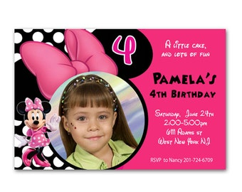Printable Pink black Minnie Mouse photo Birthday Invitation
