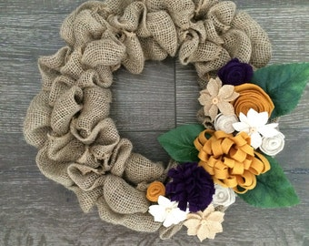 Fall wreath, burlap flower wreath, rustic fall wreath, Thanksgiving wreath, mustard wreath, flower wreath, felt flower wreath, burlap wreath