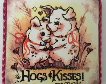 Jessy Hog & Kisses vintage sticker made into a magnet, handmade in 1980's.