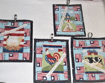4 Patriotic Quilted Wall Hangings with cafe rings Cow Cats Roosters
