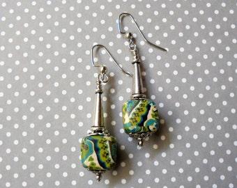 Aqua, Teal, Chartreuse and Ivory Earrings (2425)