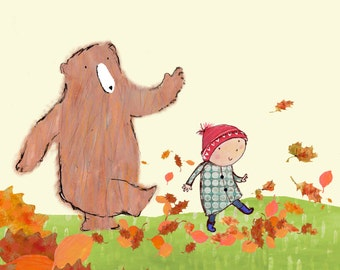 Leaves - A Boy and his Bear - Print.