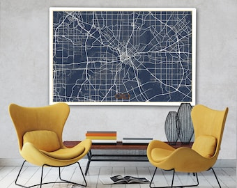 "DALLAS Canvas Map Large 60""x40"" Stretched Canvas Map Dallas Texas City Map Print Dallas Texas poster map art Jack Travel"
