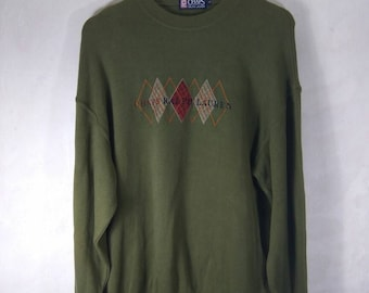 RARE! Vintage chaps Ralph Lauren sweatshirt. Embroidery Spell Out. Dark green colour.