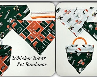 Miami football fabric, reversible custom pet bandana, dog scarf, dog bandana, pet scarf, college football, pet clothing