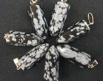 20pcs/lot - Natural White Black SnowFlake Obsidian Stone point Pendant 9x22mm - Silver Bail,mens pendant, Dowsing Pendulum, Chakra Pendulum