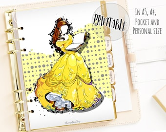 Printable Belle Planner Dashboard, Disney Print Planner Cover, Beauty and the Beast, A5 A4 Pocket Personnal Planner Inserts, Planner Cover
