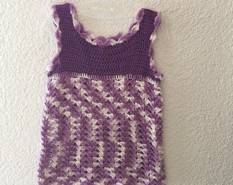 PDF crochet pattern, crochet dress in purple gr.86-92(98-104)110-116