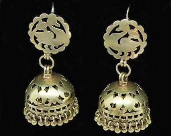 Antique Vintage Earrings 22k Gold Jhumki Bells Swan Goose Indian Wedding (#6491)