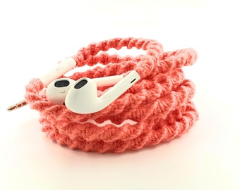 Wrapped Headphones for iPhone, Handmade iPhone Headphones, Design Earbuds, Custom Headphones, iPhone EarPods Tangle Free Earbuds in CORA