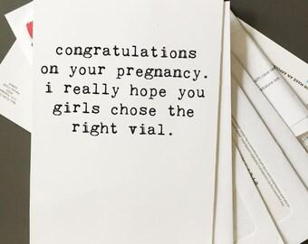 Lesbian Pregnancy, Love Card, Card for Her, Funny Card, Lesbian Card, Gay Card, LGBT Wedding, Sperm Card, Lesbian Baby