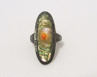 Antique Art Nouveau Sterling Silver Natural Abalone Long Ring Size 4.25